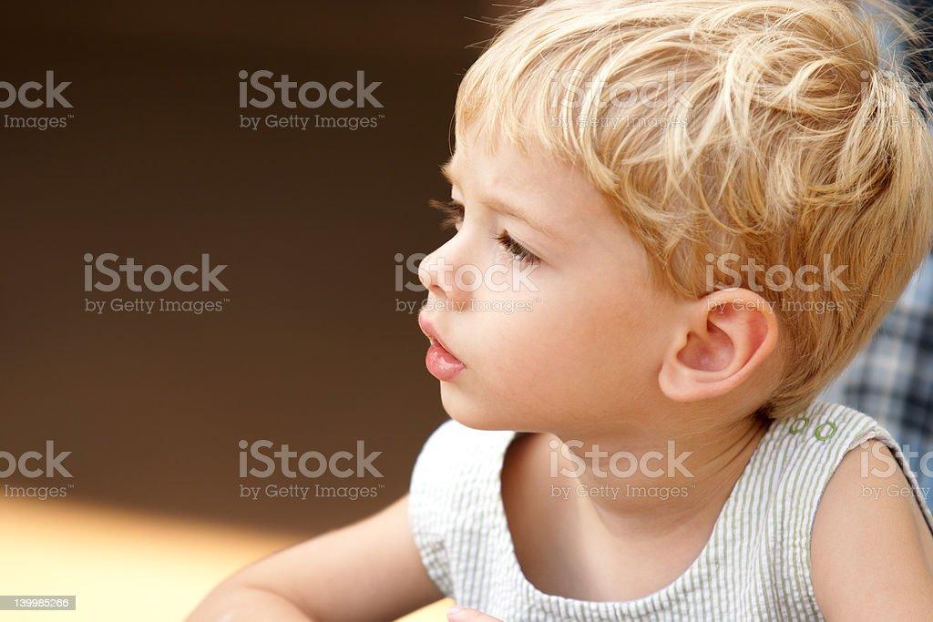 Beautiful toddler boy studying something afar royalty-free stock photo