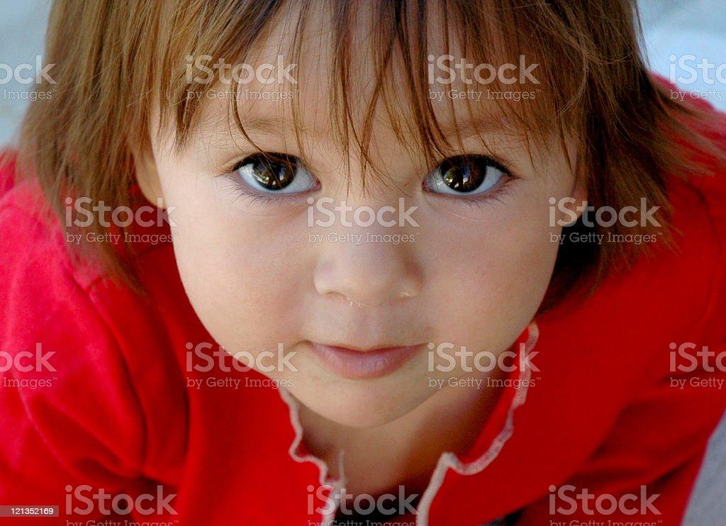 Beautiful toddler looking up at the camera stock photo