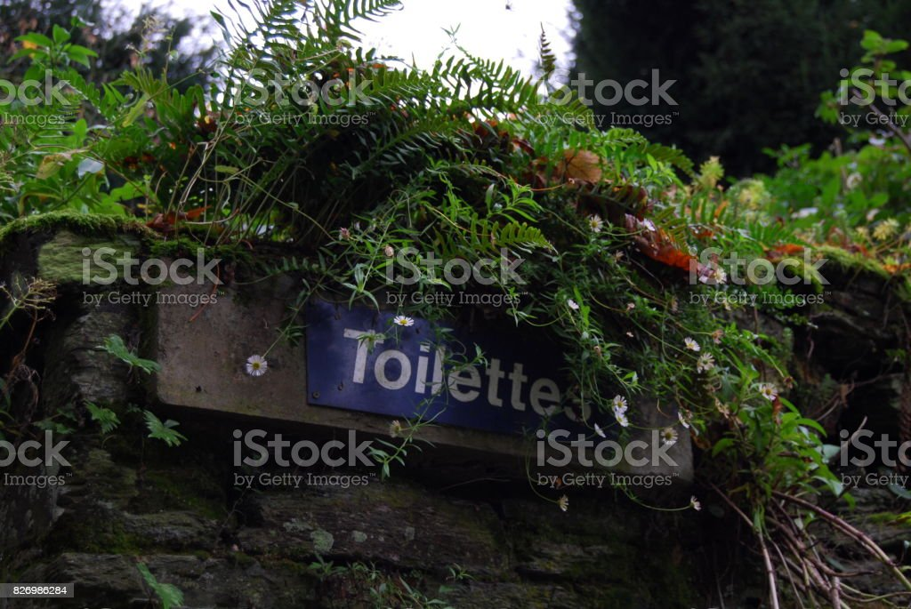 A beautiful Toilets Sign. stock photo