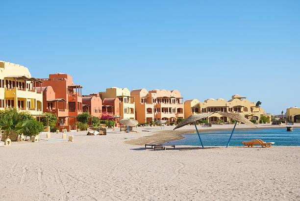 beautiful tourist apartments in El Gouna, Egypt stock photo
