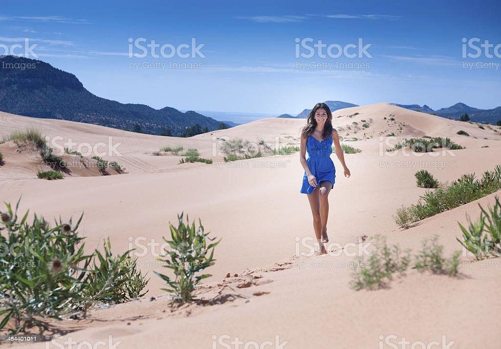 Beautiful Tourist, Coral Pink Sand Dunes National Park stock photo