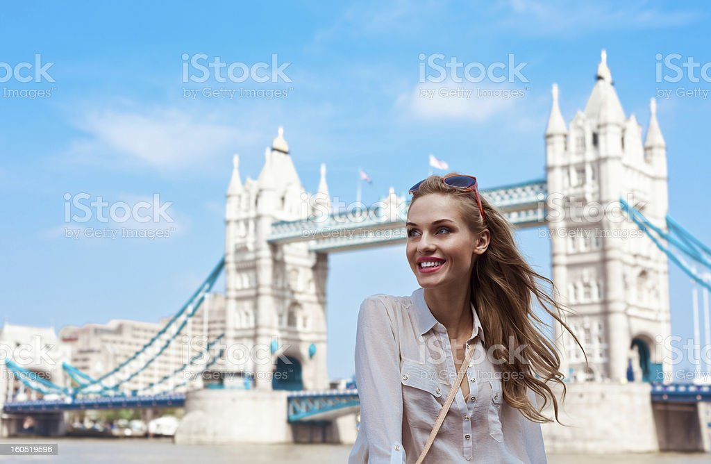 Beautiful Tourist in London royalty-free stock photo