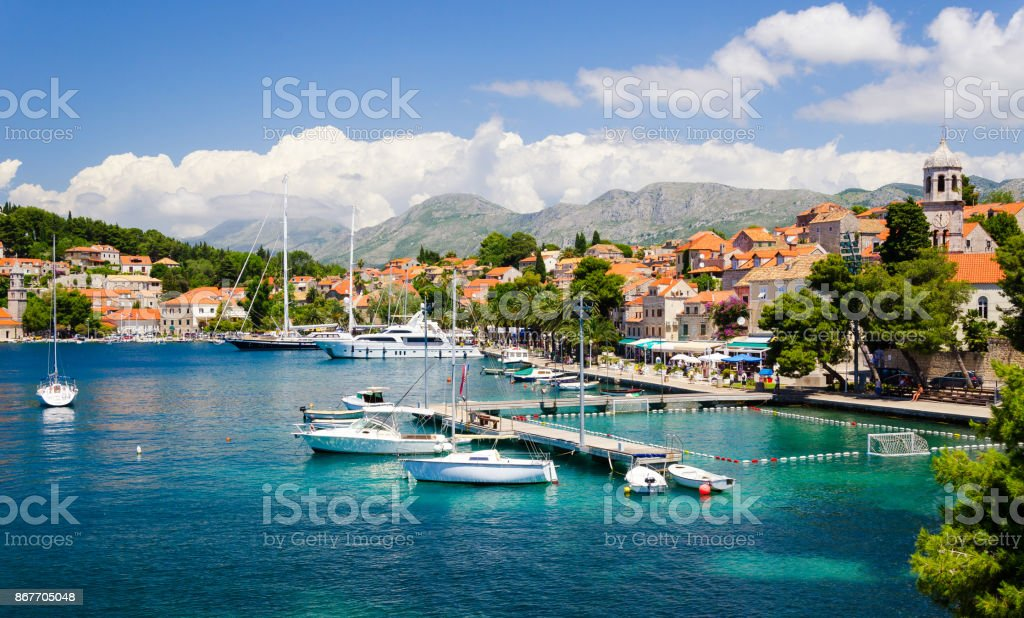 beautiful town Cavtat in southern Dalmatia, Croatia stock photo