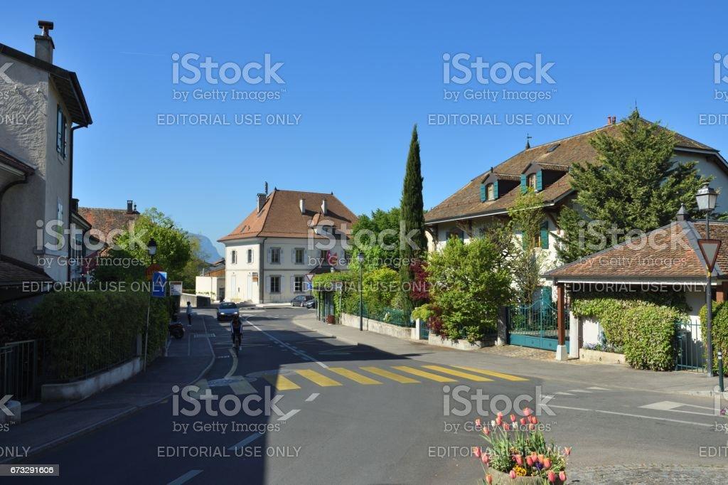 Beautiful town in Switzerland Jussy royalty-free stock photo