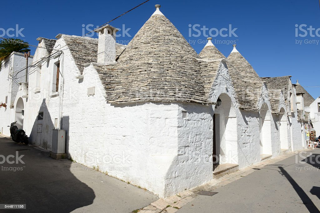 Beautiful town of Alberobello with trulli houses stock photo