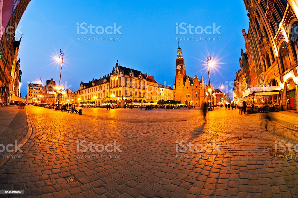 A beautiful town square with old buildings in Wroclaw royalty-free stock photo