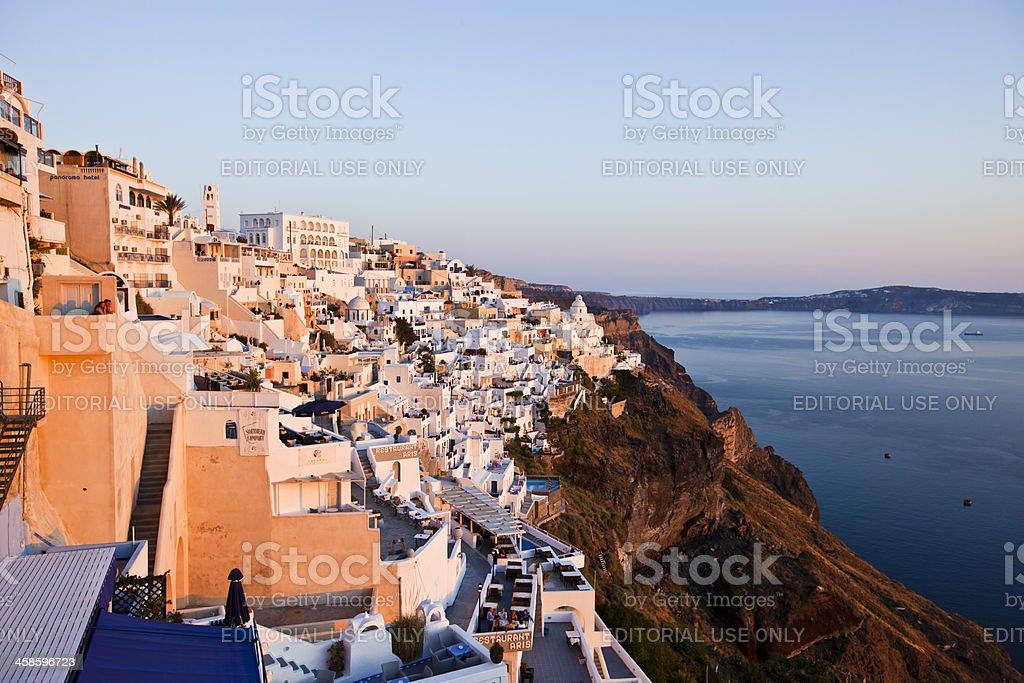 Beautiful town Thira on Santorini royalty-free stock photo