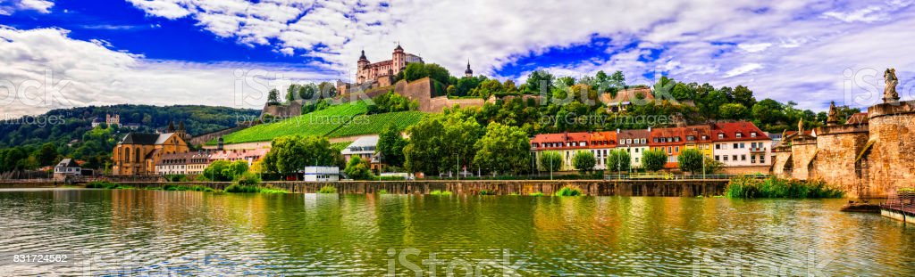 Beautiful towns and places of Germany - picturesque Wurzburg, northen Bavaria stock photo