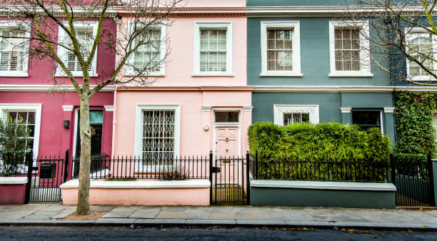 Beautiful Traditional British Terraced Houses stock photo