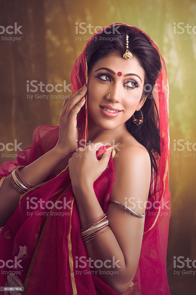 Beautiful traditional Indian girl stock photo