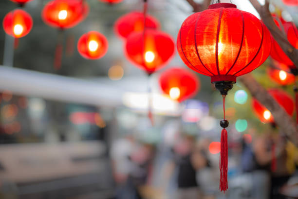 beautiful traditional lanterns hanging from a tree during chinese lunar new year. - festival delle lanterne cinesi foto e immagini stock