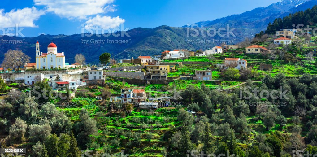 beautiful traditional mountain village Lakki in Crete island. Greece stock photo