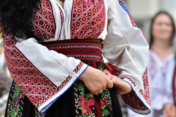 beautiful traditional romania costumes from dobrogea , romania - romania foto e immagini stock