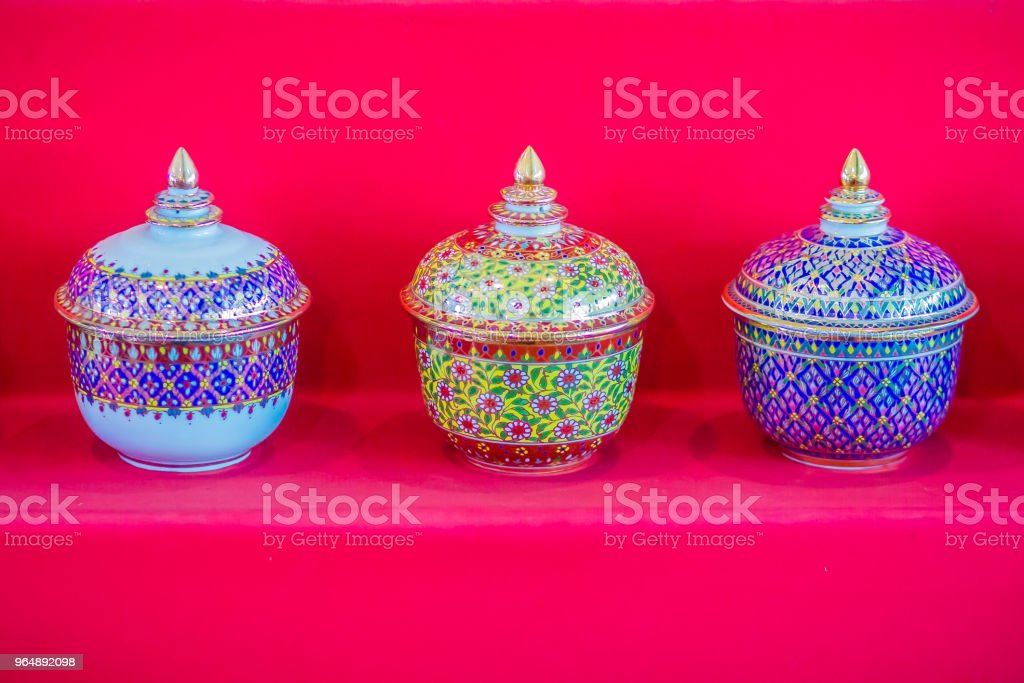 Beautiful traditional Thai five-colored porcelain ceramic bowls. Benjarong Porcelain for sale in the flea market , Thailand. royalty-free stock photo
