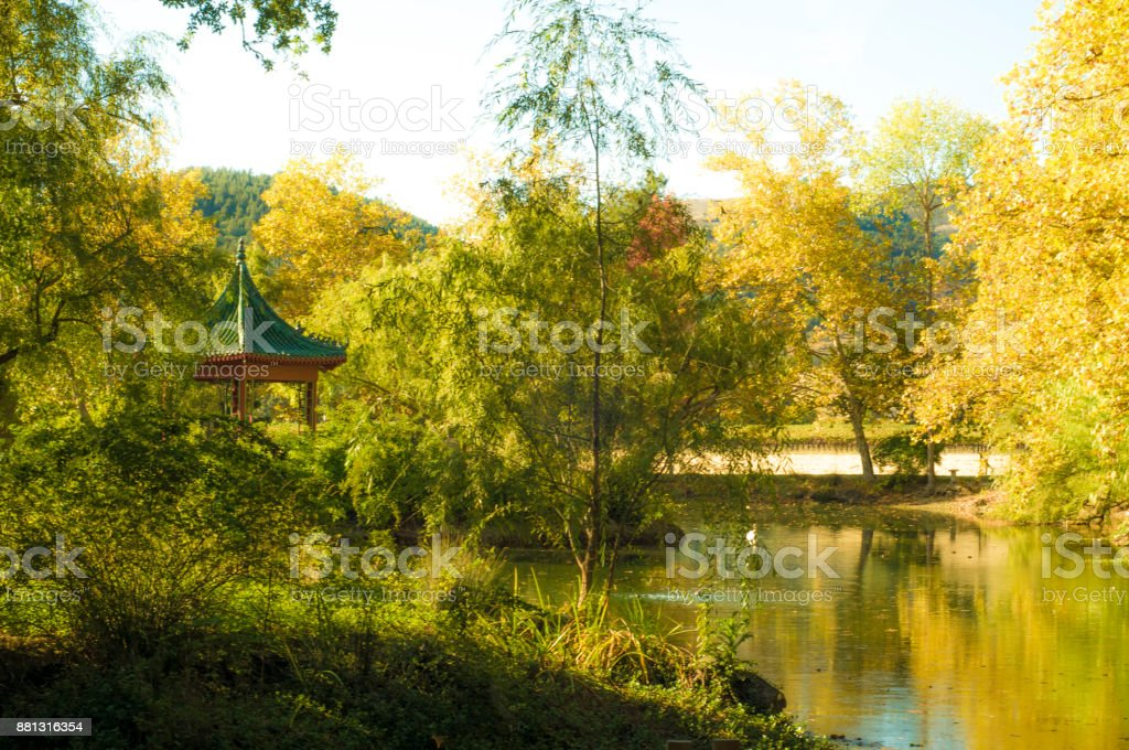 Beautiful Tranquil Lakeside Park in Calistoga, California USA stock photo