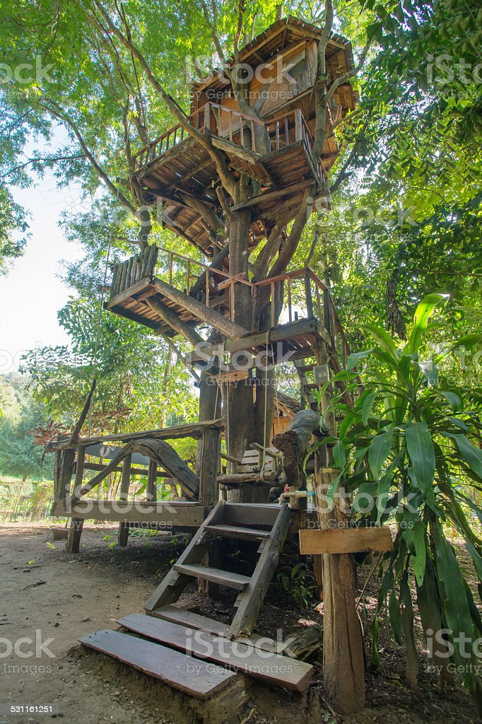 Beautiful tree house in Chiang Mai province, Thailand stock photo