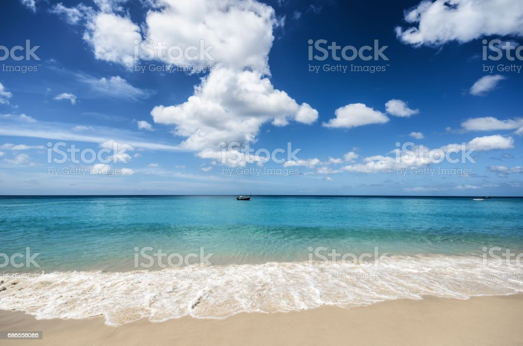 Beautiful tropical beach and blue sky royalty-free stock photo