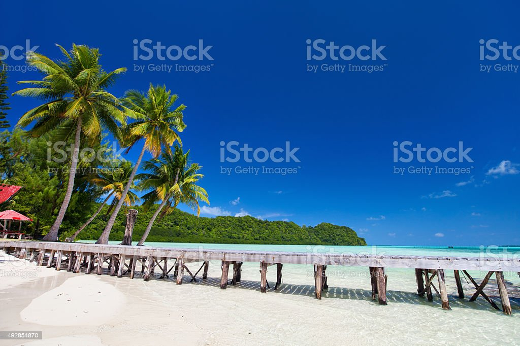 Beautiful tropical beach at exotic island in Pacific stock photo