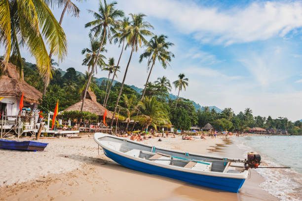 beautiful tropical beach in Thailand, Koh Chang beautiful tropical beach in Thailand, wooden boat and palm trees on Koh Chang koh chang stock pictures, royalty-free photos & images
