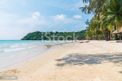Beautiful tropical beach with blue sky at at Koh Kood Island,thailand island