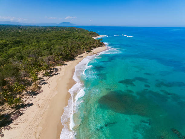 Beautiful tropical coastline, view frome above, Dominican Republic stock photo