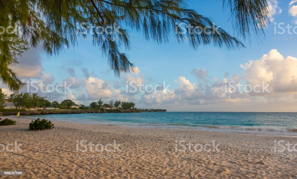 Beautiful Tropical Island Beach with Blue Water and Clean Sand stock photo