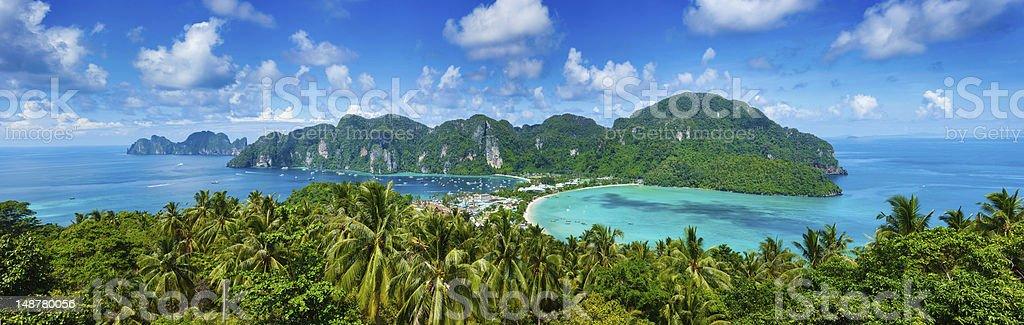 A beautiful tropical island with lush foliage stock photo