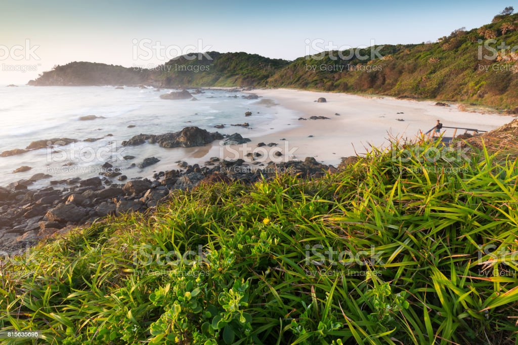 Beautiful tropical, lush green coastline beach and sea stock photo