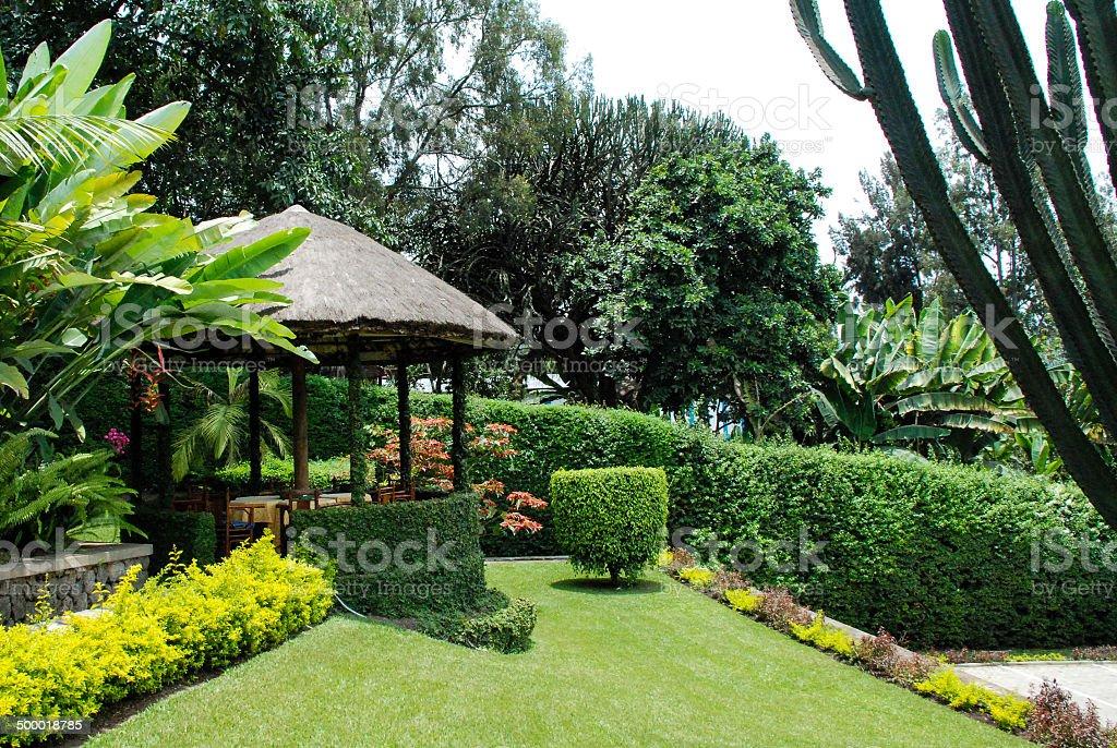 Beautiful Tropical Ornamental Garden and Gazebo Gisenyi Rwanda stock photo