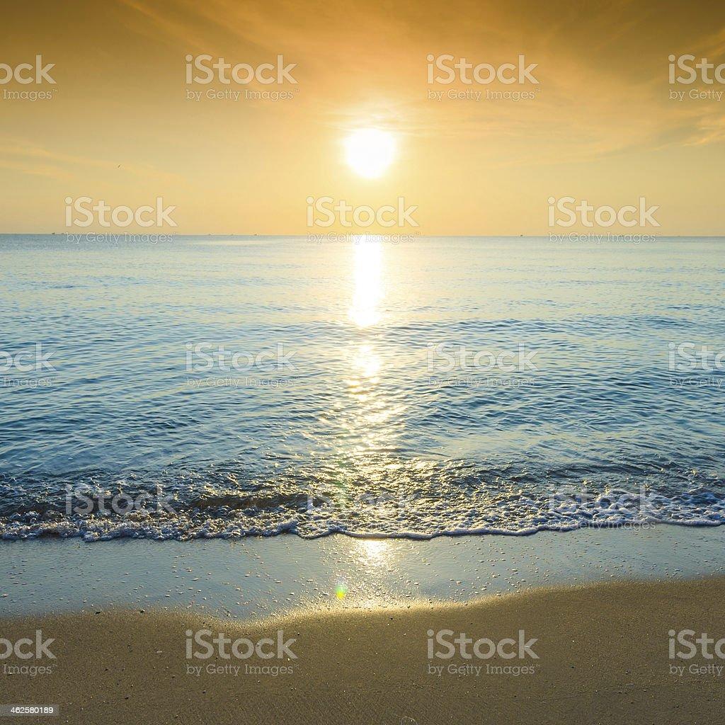 Beautiful tropical sand beach against the blue sky. stock photo