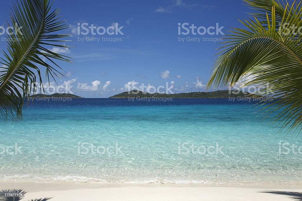 beautiful tropical scene at a  beach in the Caribbean royalty-free stock photo