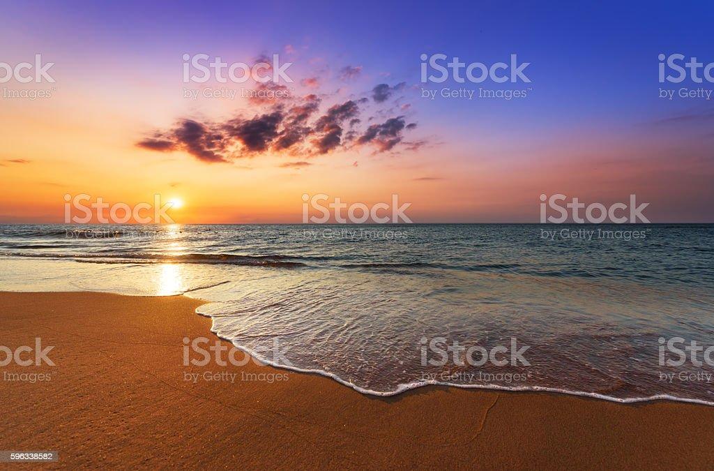 Beautiful tropical sunrise on the beach. royalty-free stock photo