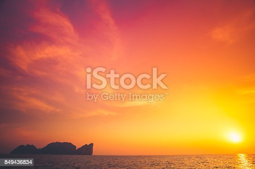 istock Beautiful tropical sunset in Krabi, Thailand 849436834