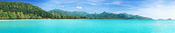 Beautiful tropical Thailand island panoramic Beautiful tropical Thailand island panoramic with beach, white sea and coconut palms for holiday vacation background concept koh chang stock pictures, royalty-free photos & images