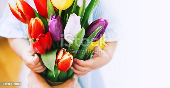 Beautiful tulips in child hands. Cute little girl with flowers bouquet for Mother's Day, Easter and Spring background