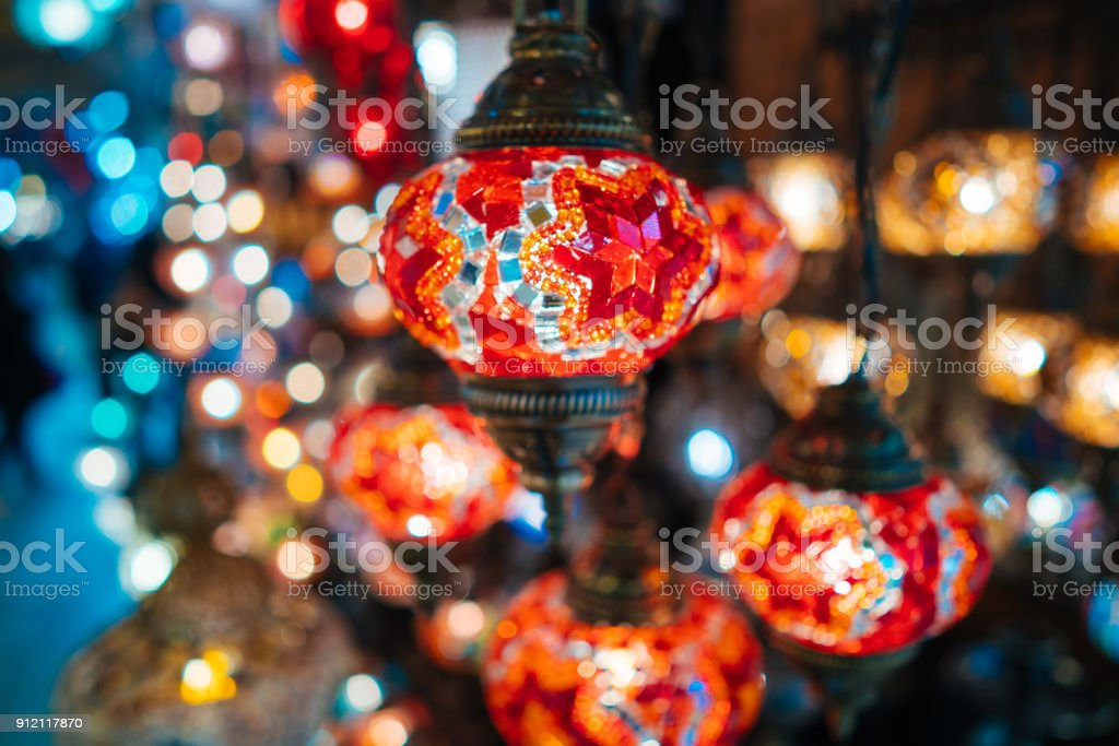 Beautiful turkish mosaic lamps stock photo