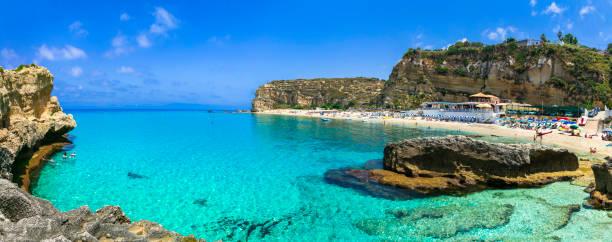 beautiful turquoise sea and great beaches of calabria. oasi beach near tropea town - foto di tropea foto e immagini stock