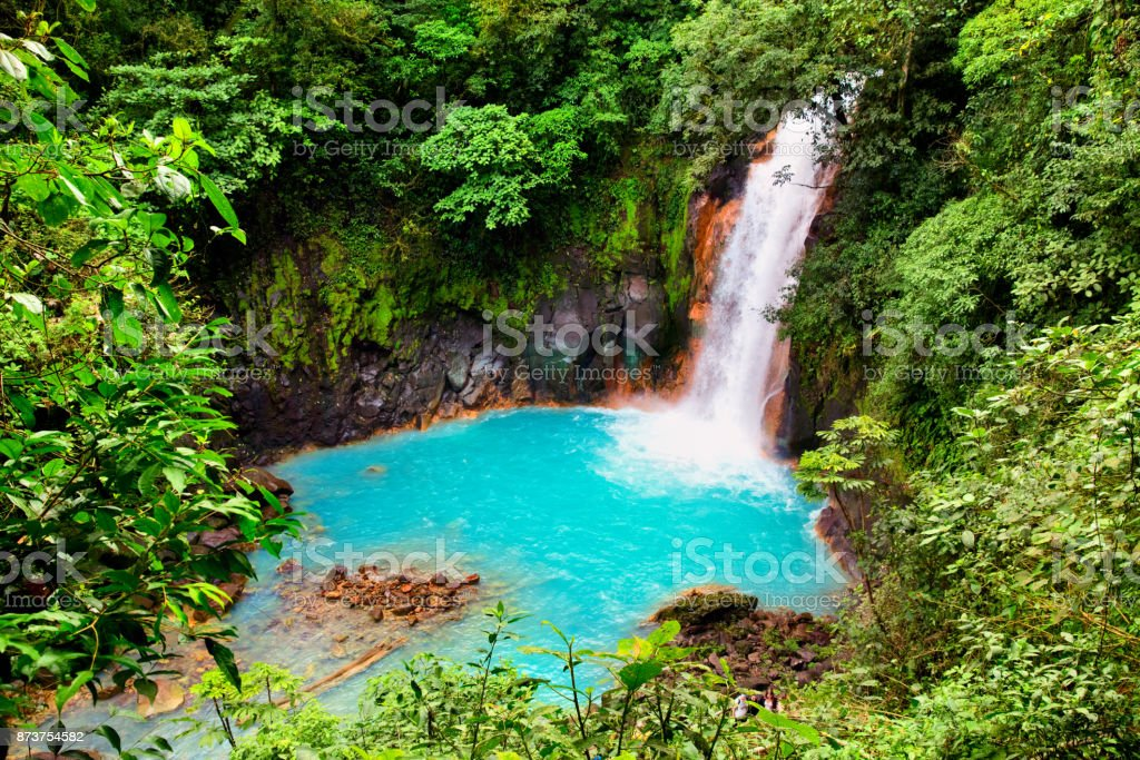 Beautiful Turquoise water of Rio Celeste Waterfall - Nature Phenomen of Costa Rica stock photo
