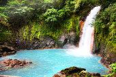 Beautiful Turquoise water of Rio Celeste Waterfall - Nature Phenomen of Costa Rica.