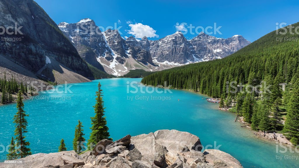 Beautiful turquoise waters of the Moraine lake stock photo