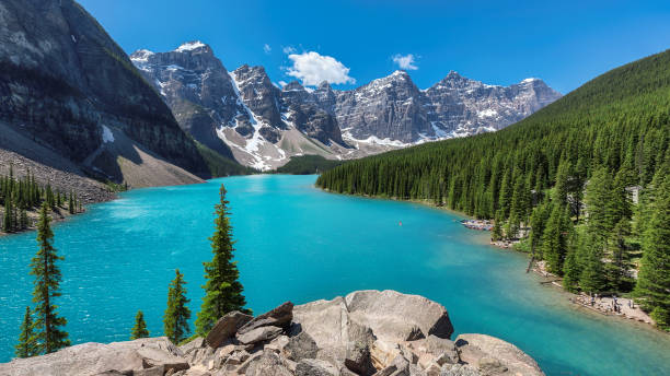 beautiful turquoise waters of the moraine lake - canada stock photos and pictures
