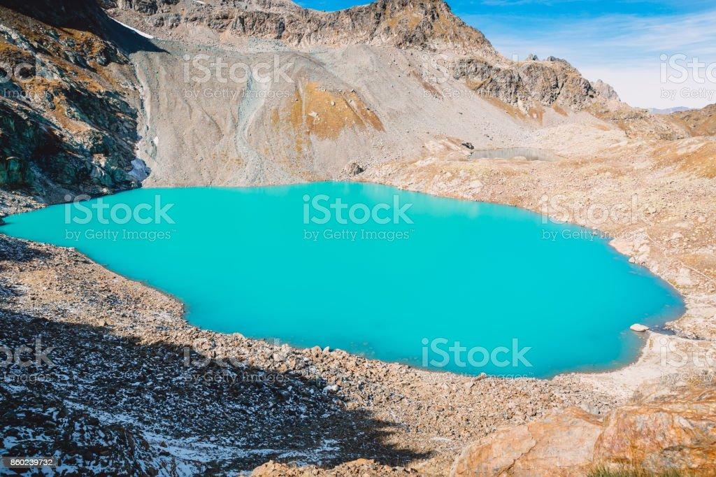 Beautiful turquoise waters of the mountain lake stock photo