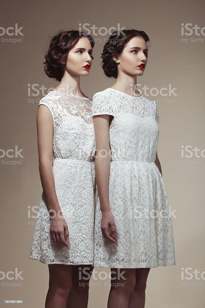 Superbes lits jumeaux photo libre de droits