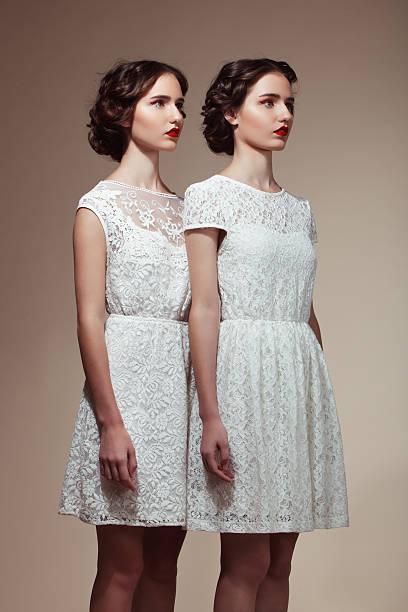 Beautiful twins stock photo