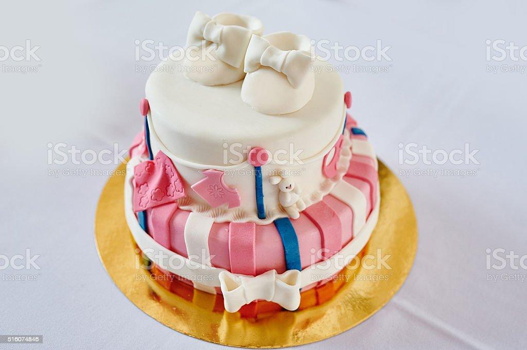 Beautiful Twolayer Pink And White Birthday Cake Stock Photo Istock
