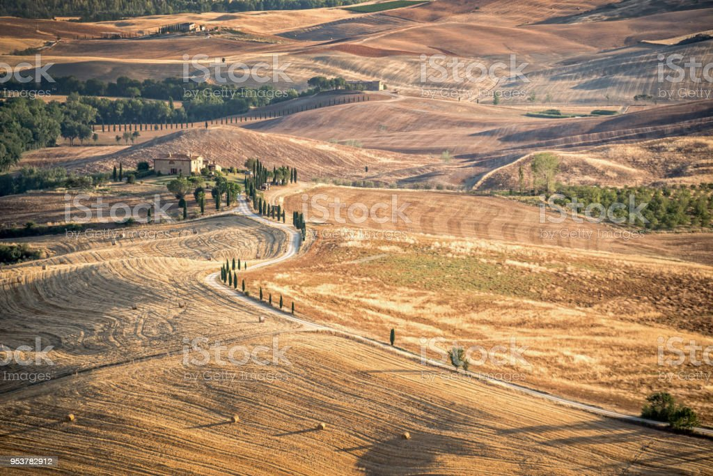 Beautiful typical countryside summer landscape in Tuscany, Italy stock photo