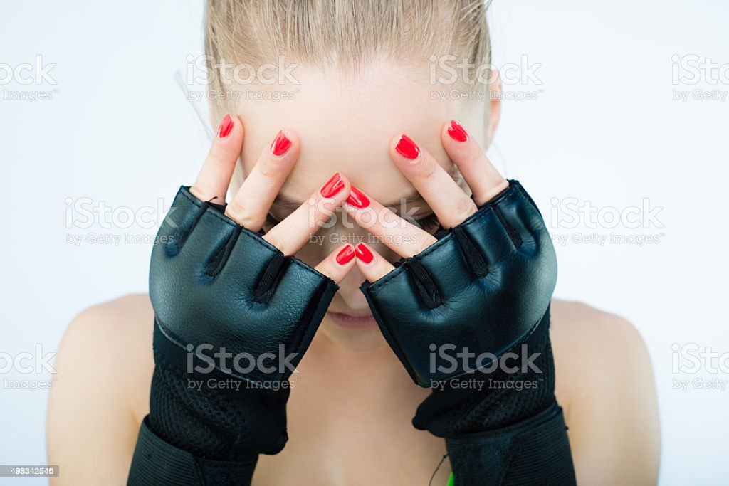 Beautiful UFC Women Fighter Posing With Her Gloves On stock photo