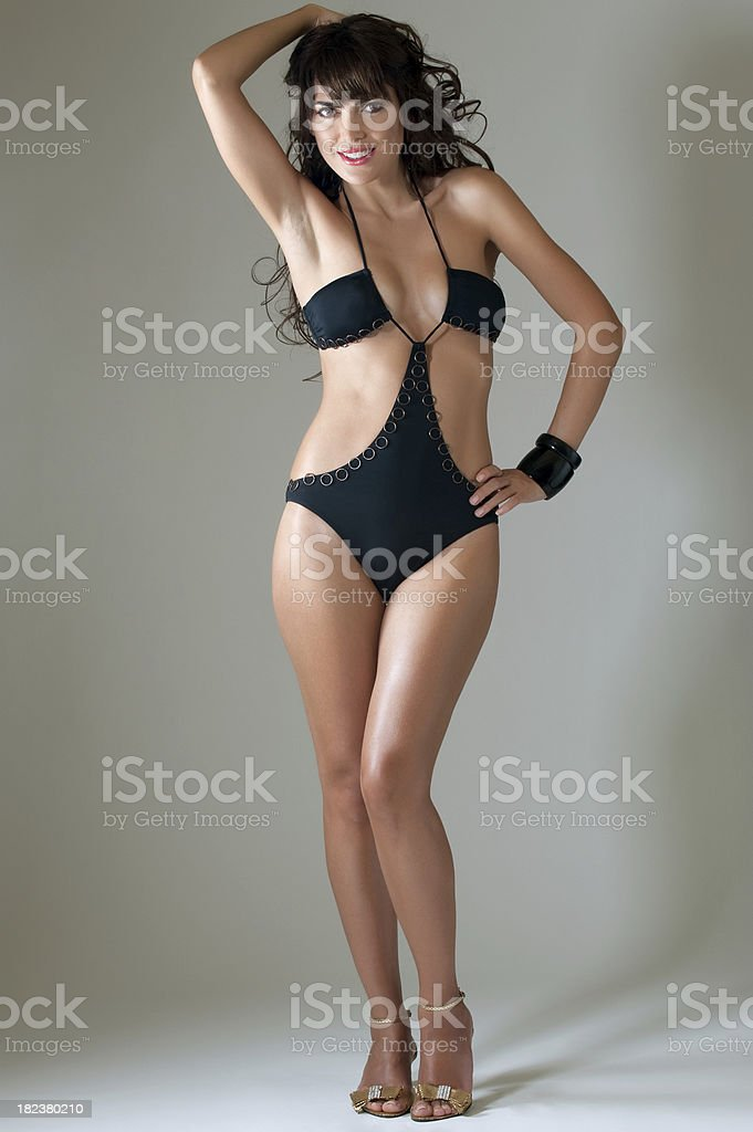 Beautiful underwear model posing royalty-free stock photo