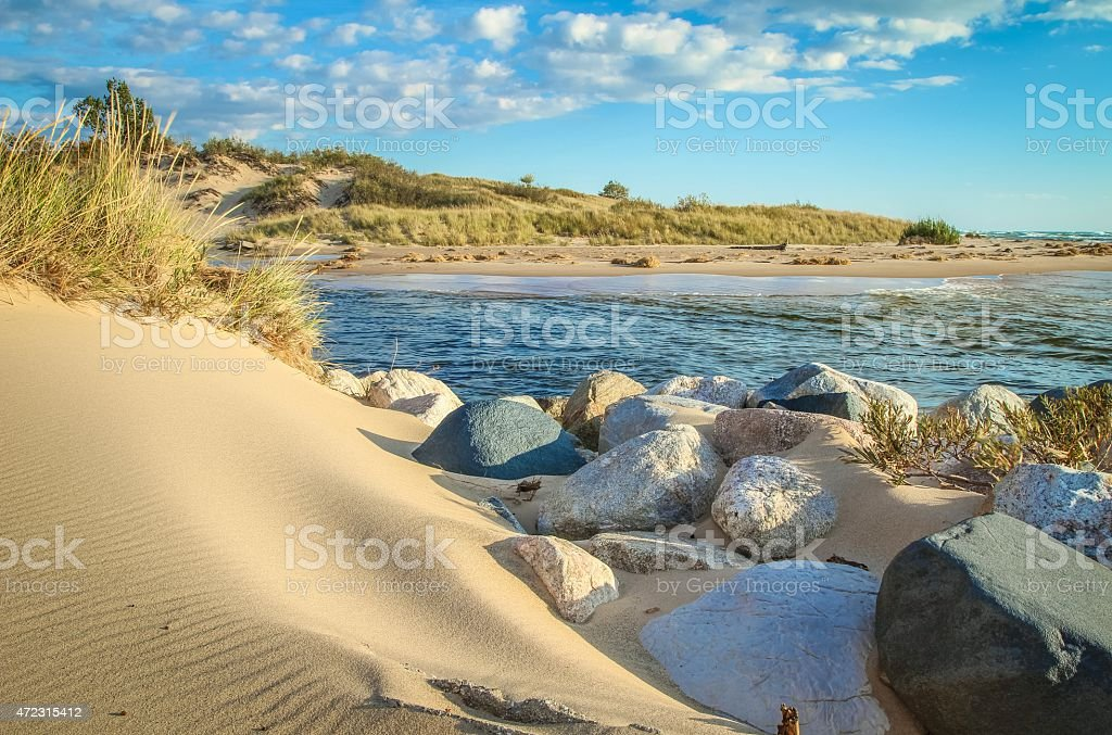 Beautiful Undeveloped Lake Michigan Coast And Sand Dunes stock photo
