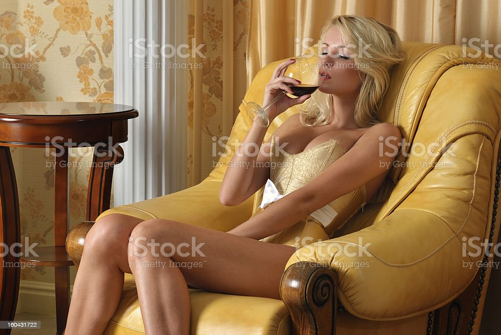 Beautiful undressed woman in luxury inter royalty-free stock photo